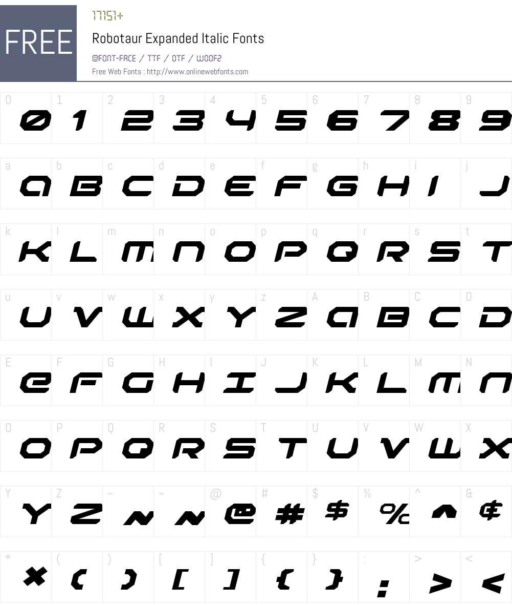 Robotaur Expanded Italic Font Screenshots