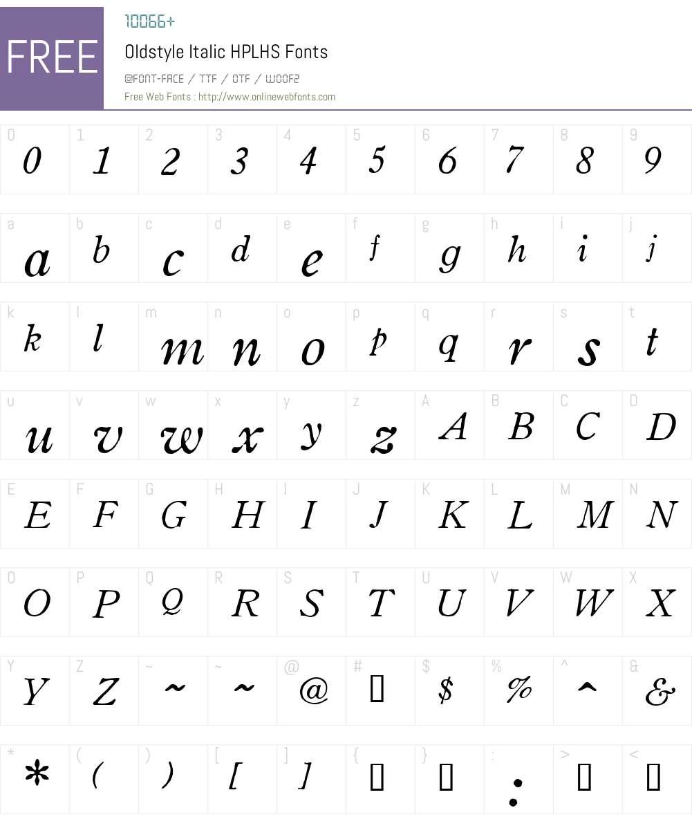 Oldstyle Italic Font Screenshots