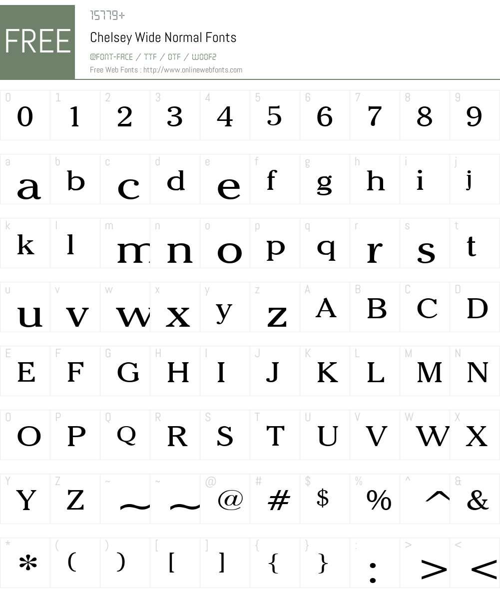 Chelsey Wide Font Screenshots