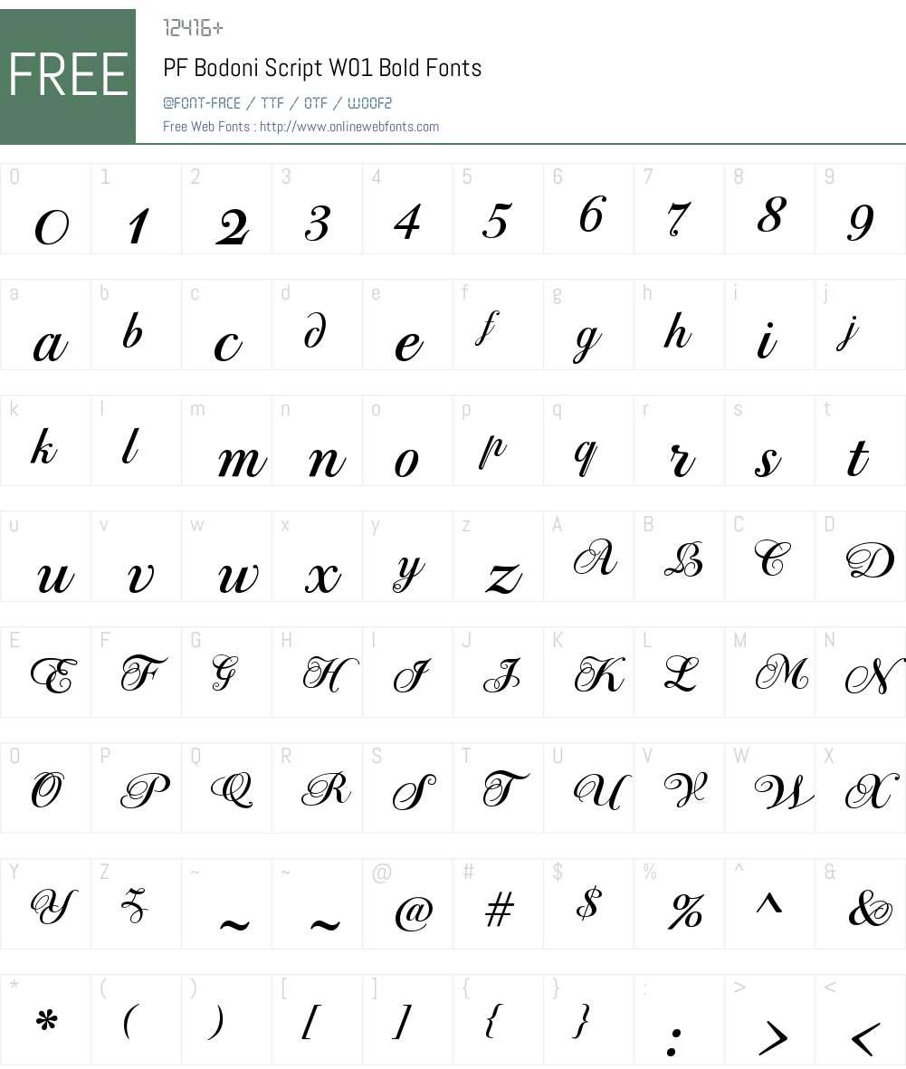 PFBodoniScriptW01-Bold Font Screenshots