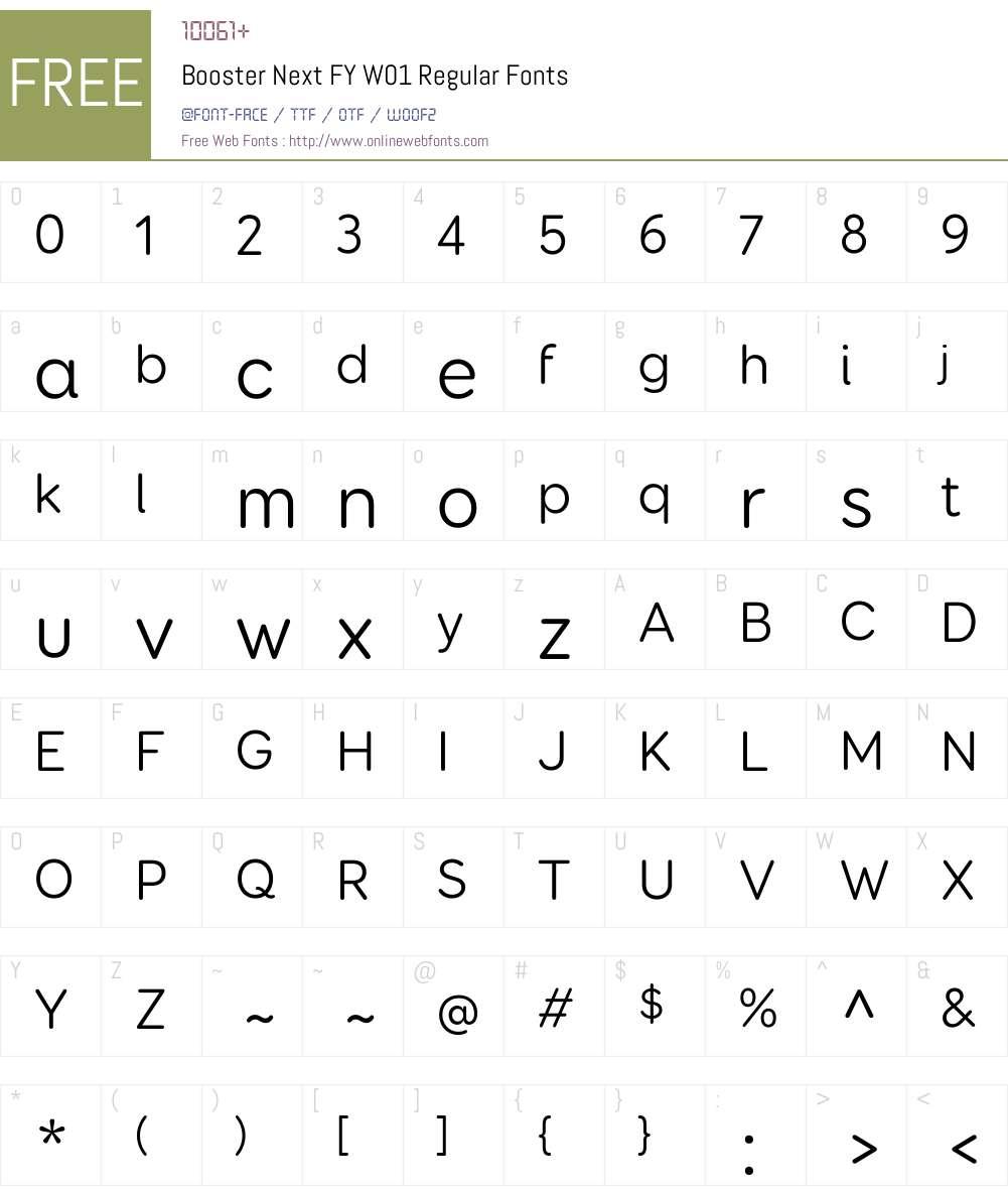 BoosterNextFYW01-Regular Font Screenshots