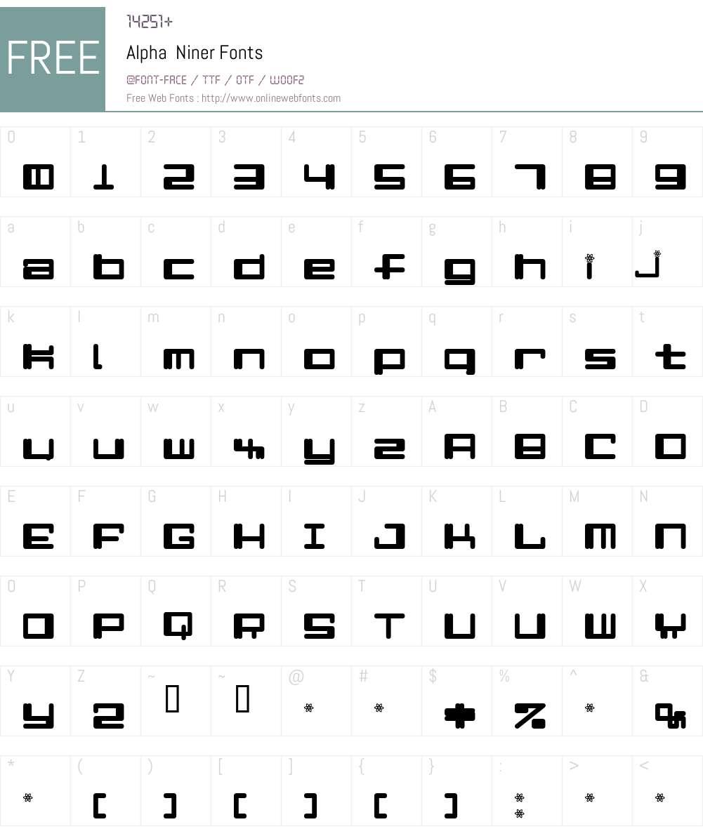 Alpha  Niner Font Screenshots