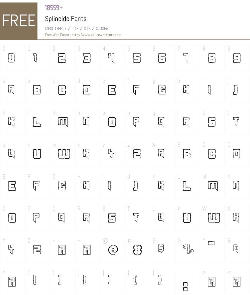 Splincide Font Screenshots