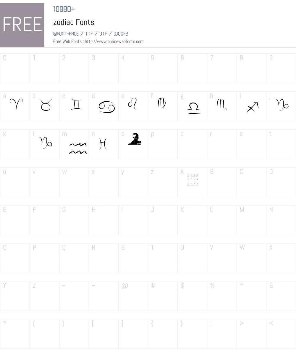 zodiac Font Screenshots
