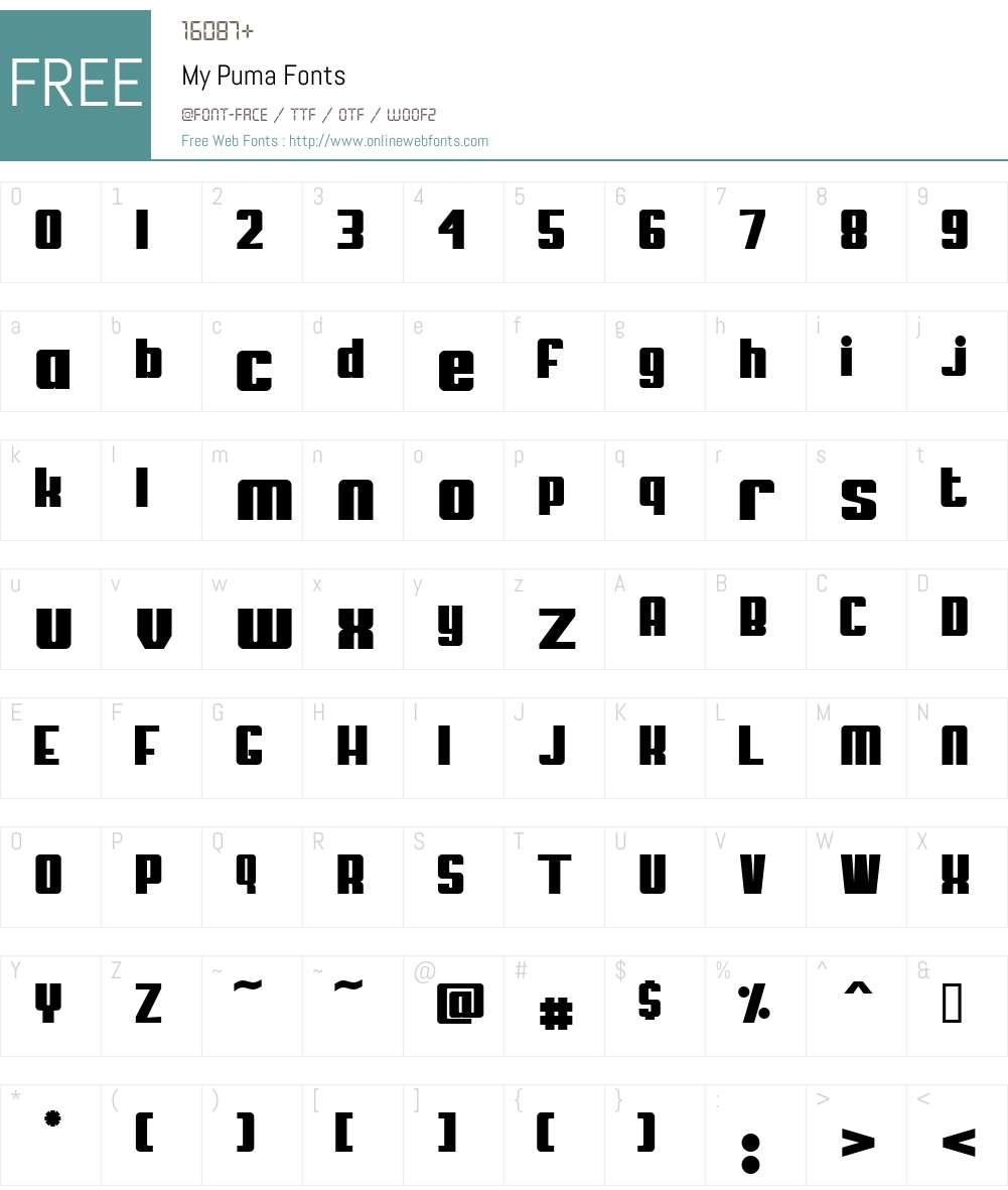 My Puma Font Screenshots