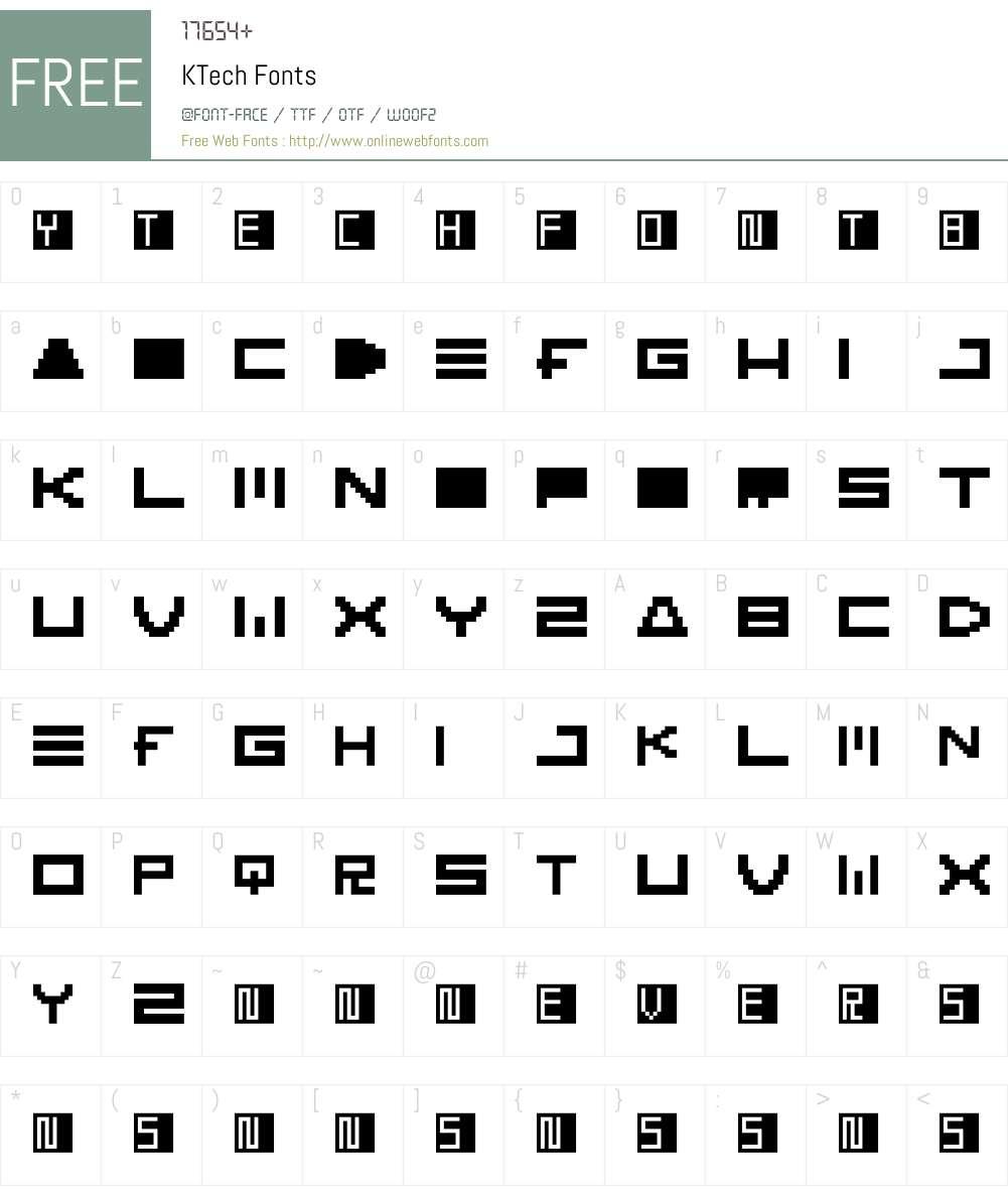 KTech Font Screenshots