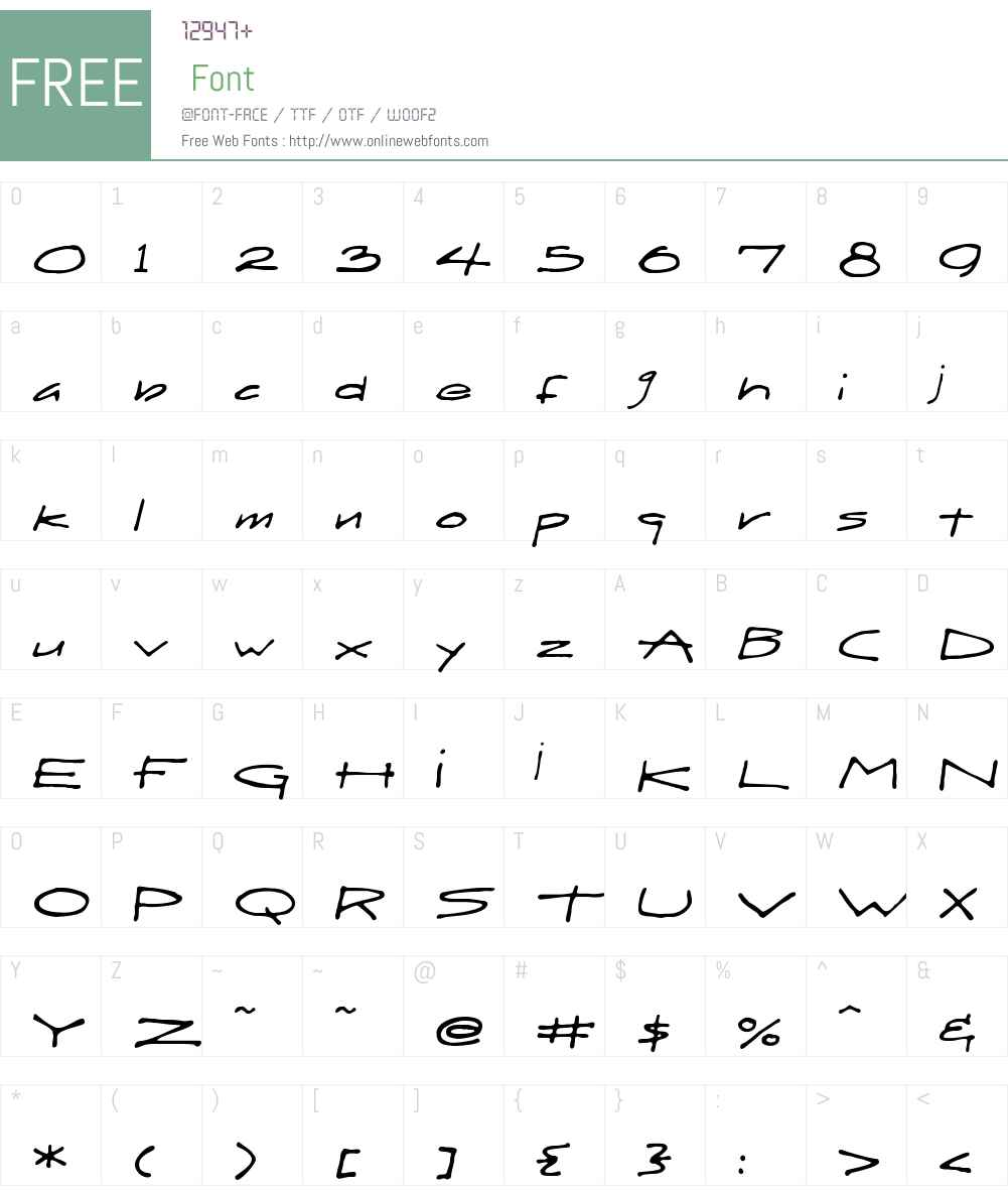 DraftHandW00-Regular Font Screenshots