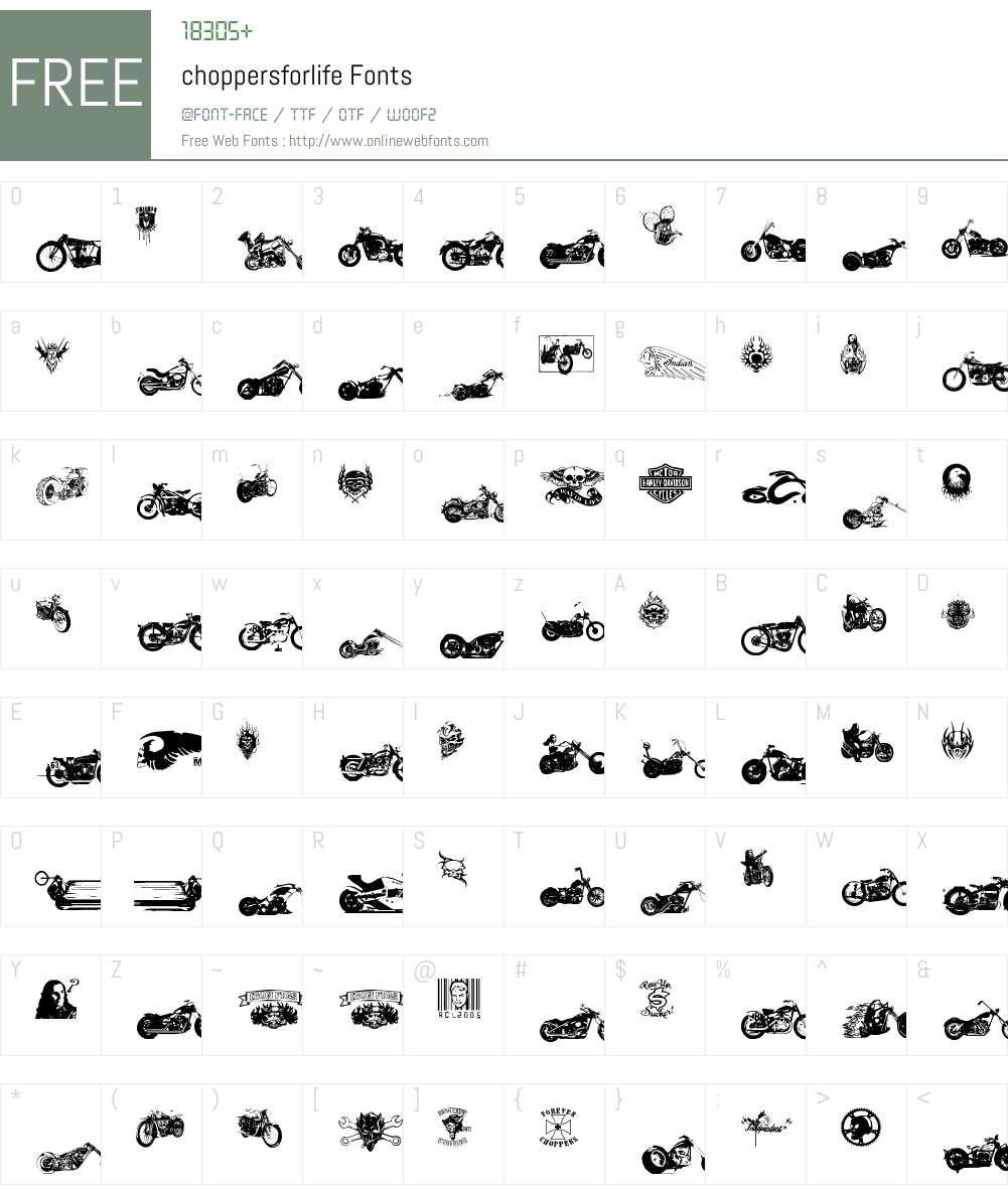 choppersforlife Font Screenshots