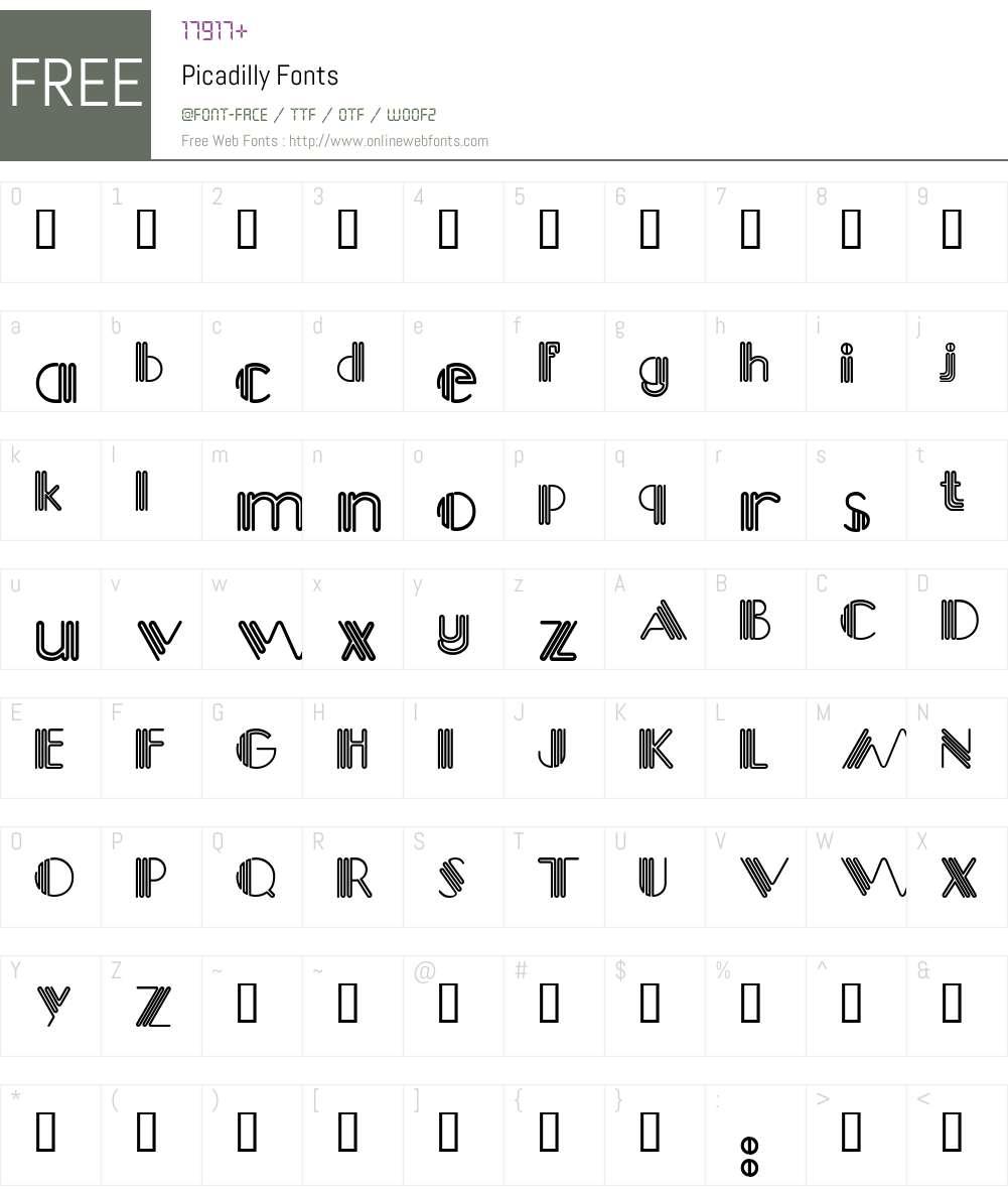 Picadilly Font Screenshots
