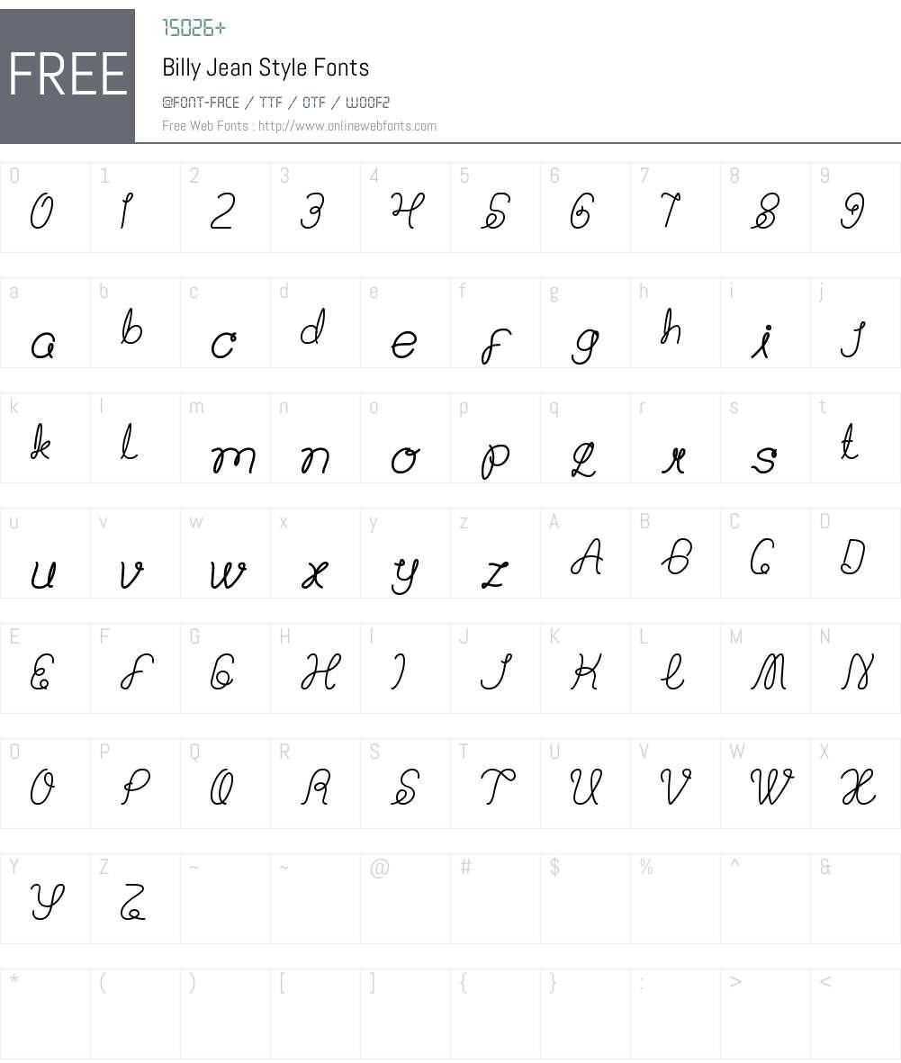 Billy Jean Style Font Screenshots