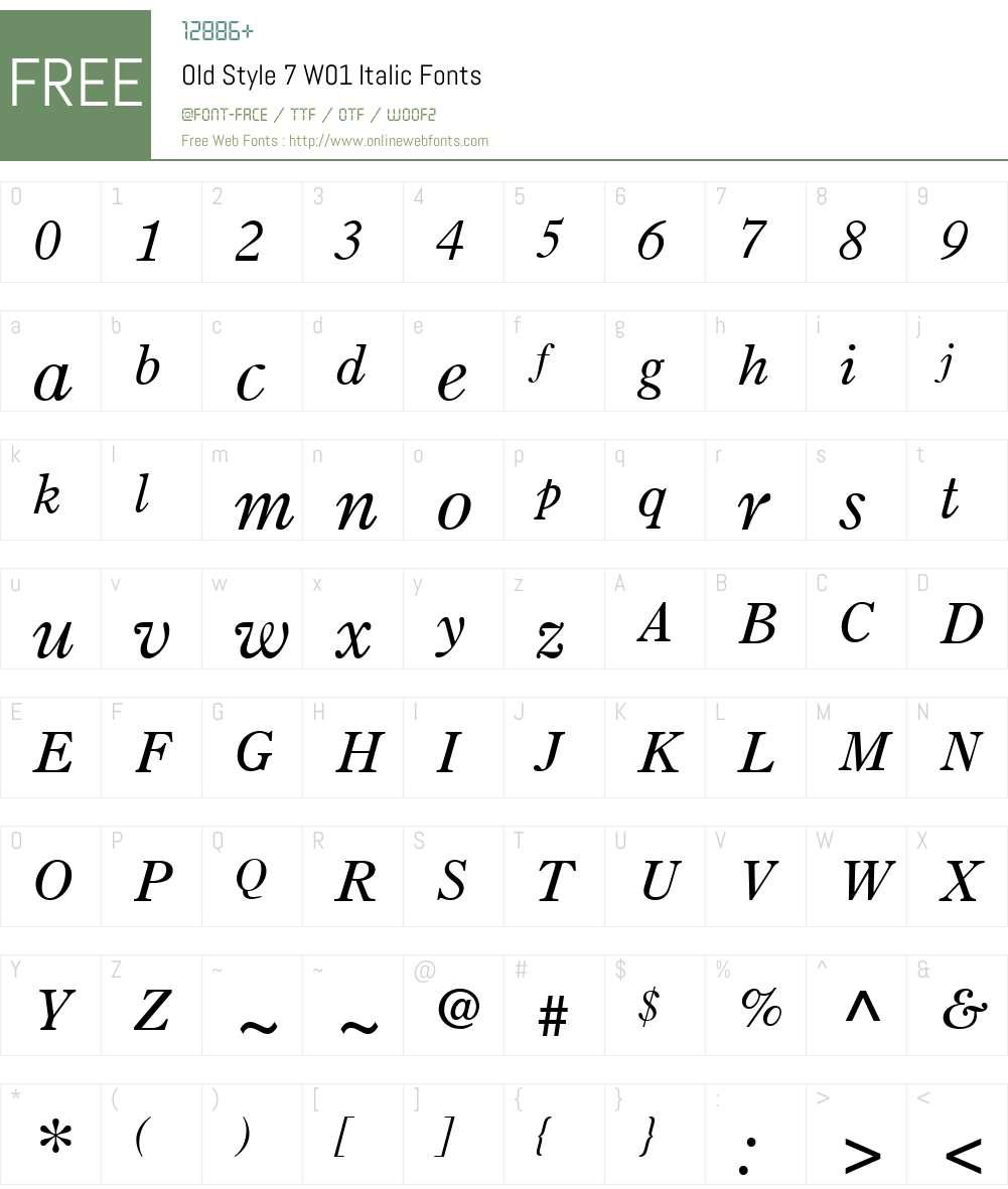 OldStyle7W01-Italic Font Screenshots