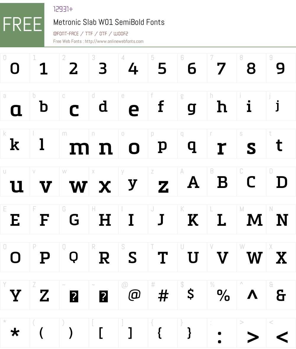 MetronicSlabW01-SemiBold Font Screenshots
