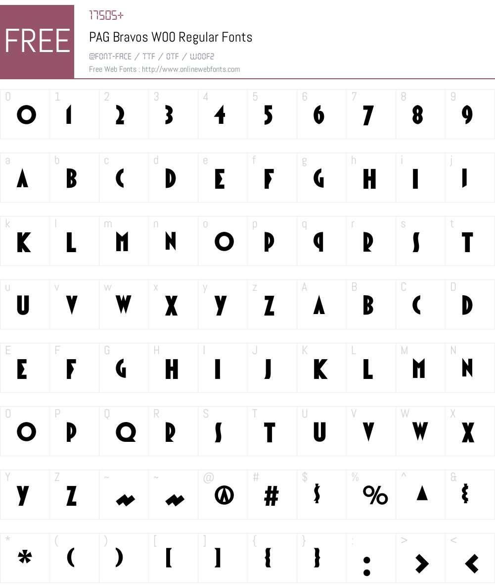 PAGBravosW00-Regular Font Screenshots