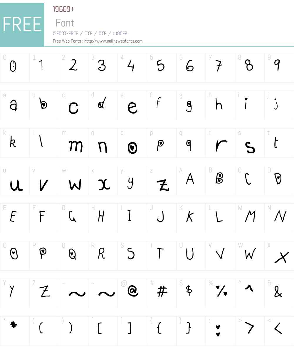 hearts and smarts Font Screenshots