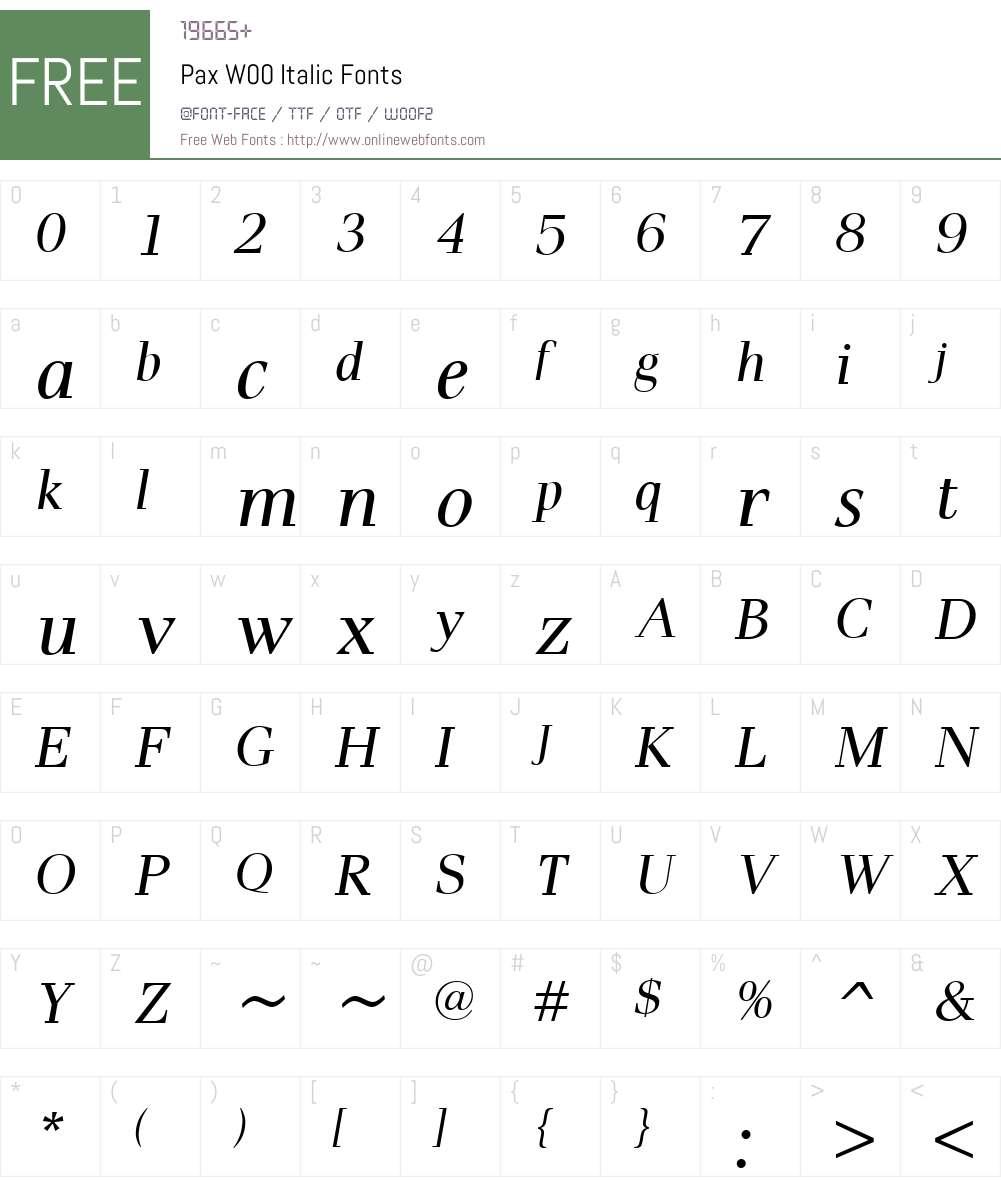 PaxW00-Italic Font Screenshots