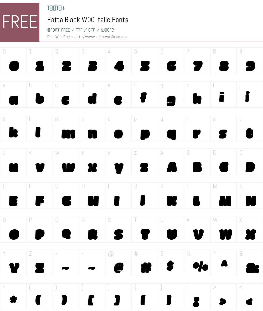 FattaBlackW00-Italic Font Screenshots