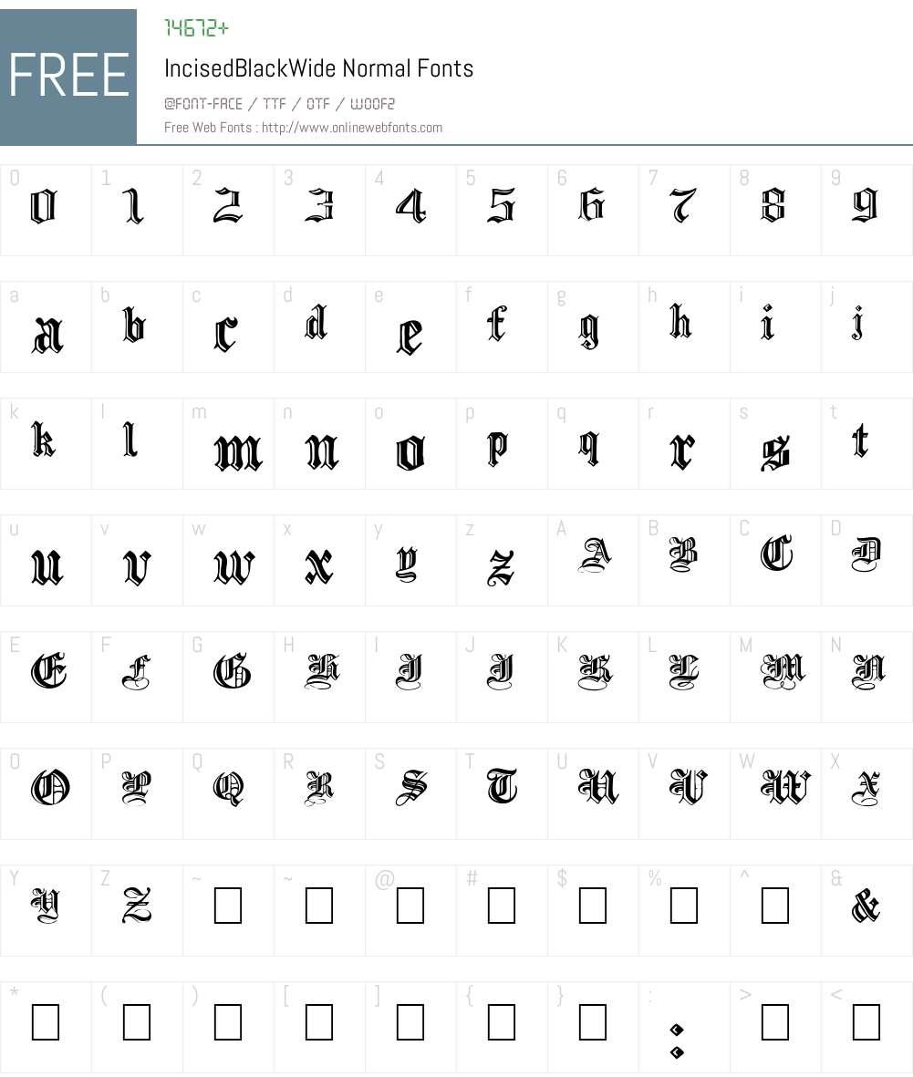IncisedBlackWide Font Screenshots