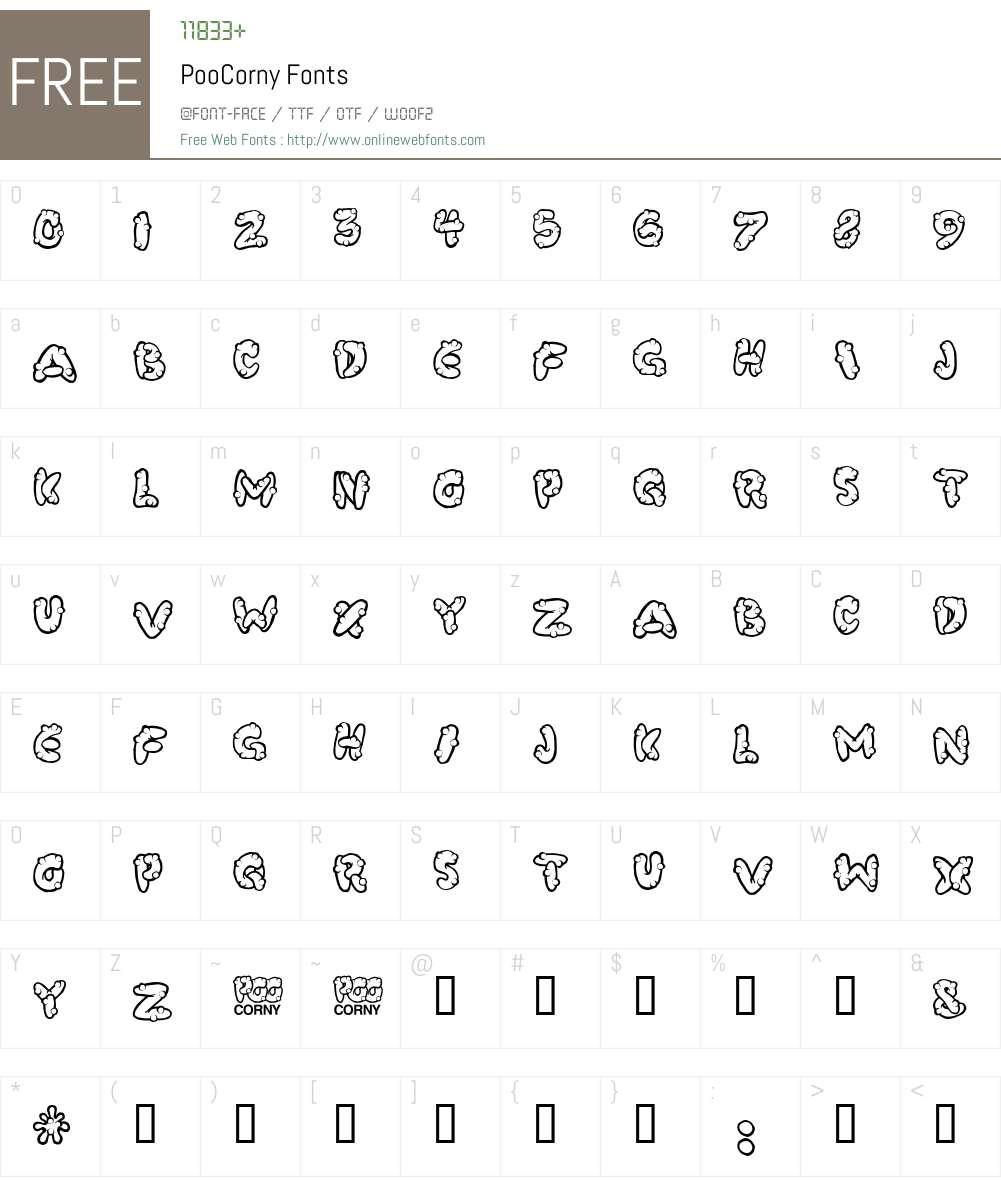 PooCorny Font Screenshots