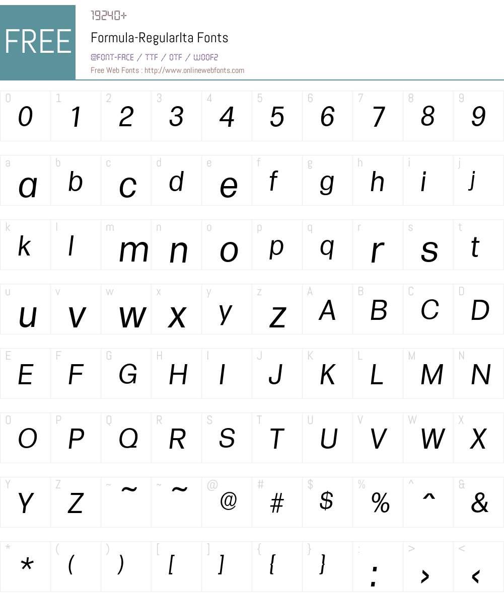 Formula-RegularIta Font Screenshots