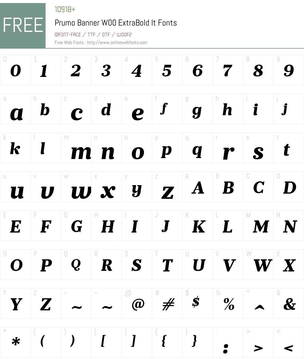 PrumoBannerW00-ExtraBoldIt Font Screenshots