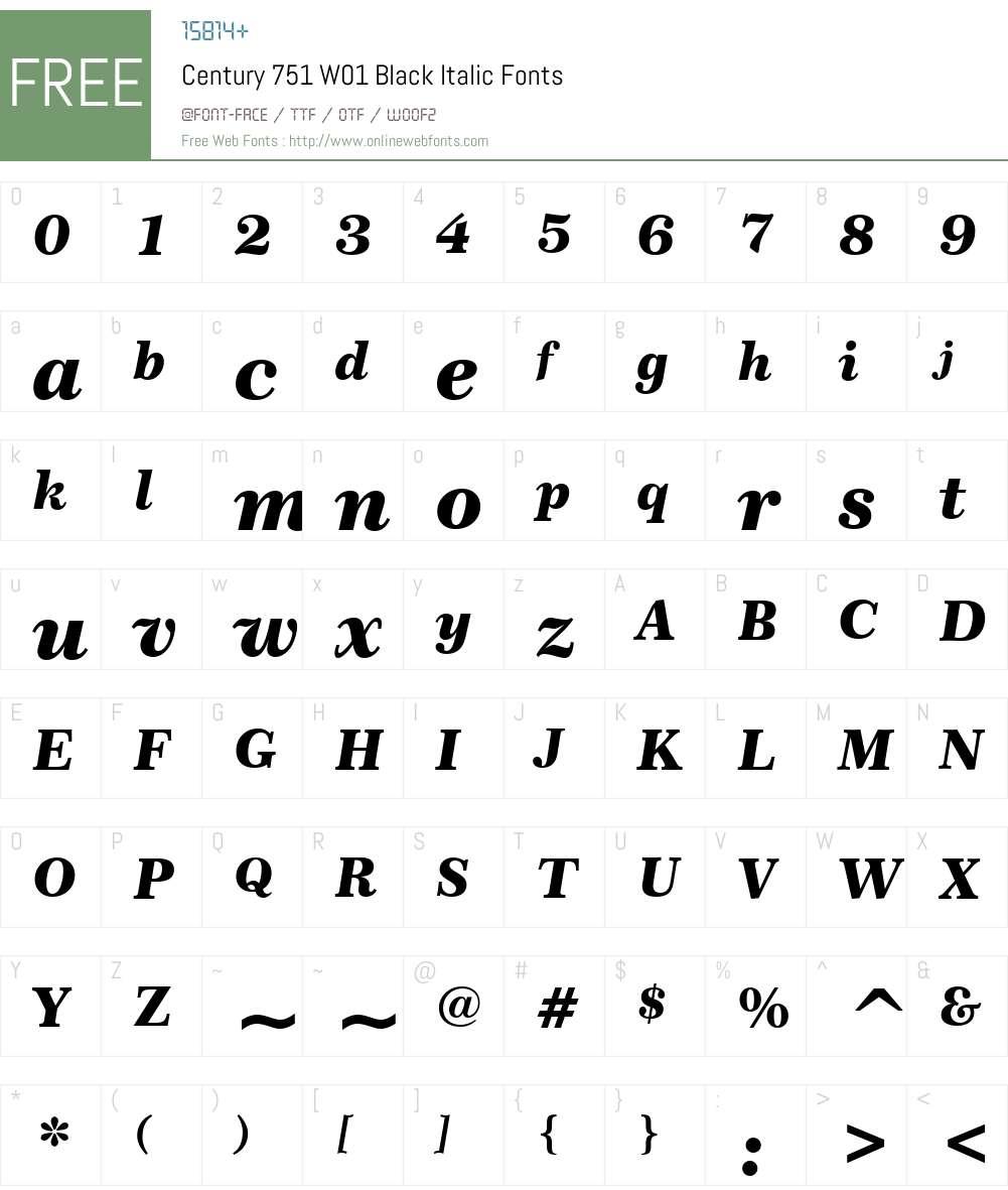 Century751W01-BlackItalic Font Screenshots