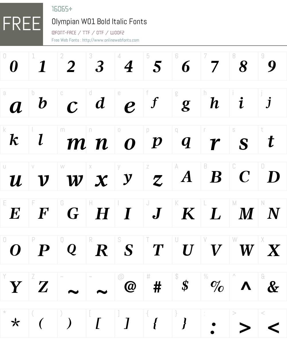 OlympianW01-BoldItalic Font Screenshots