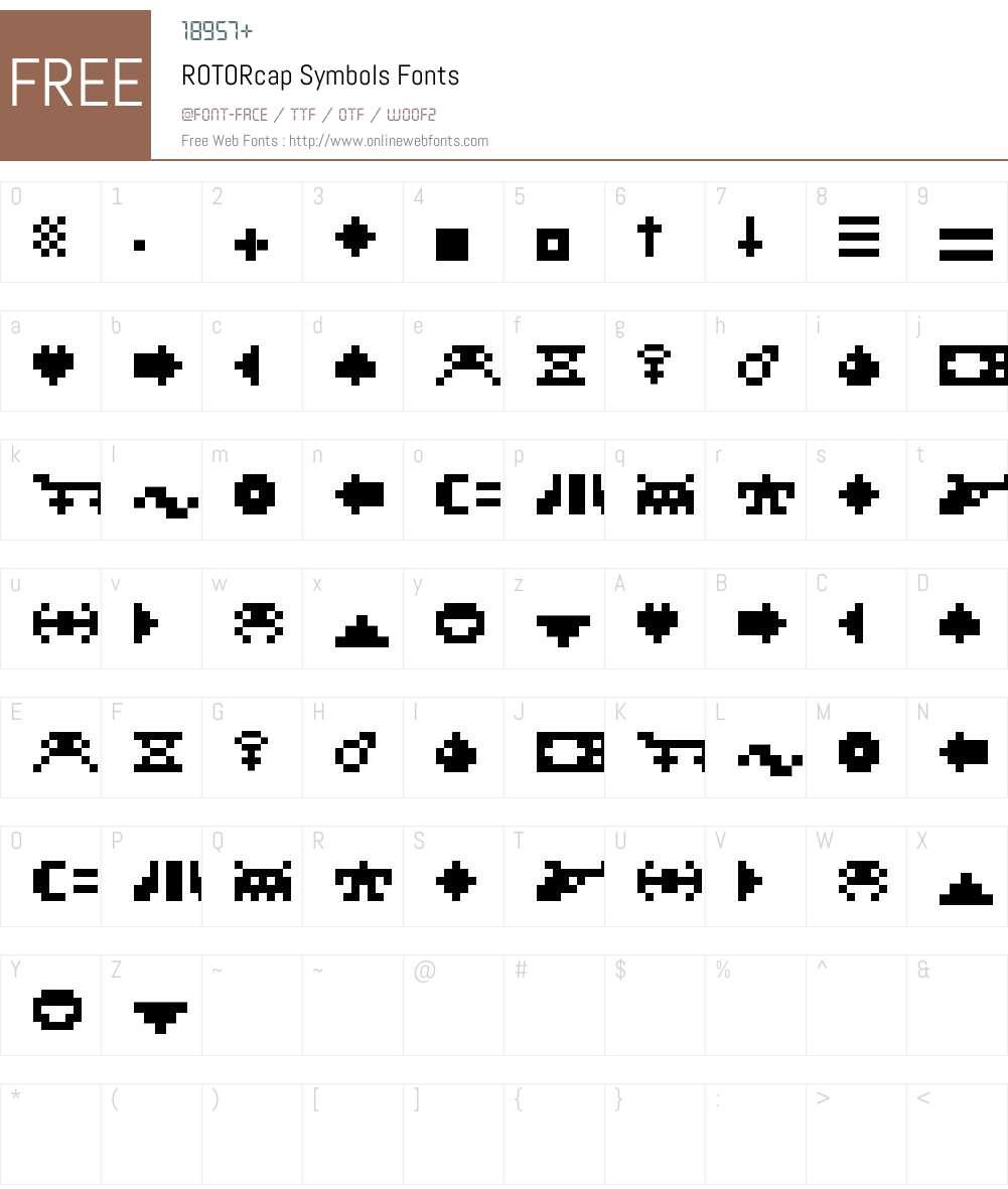 ROTORcap Symbols Font Screenshots