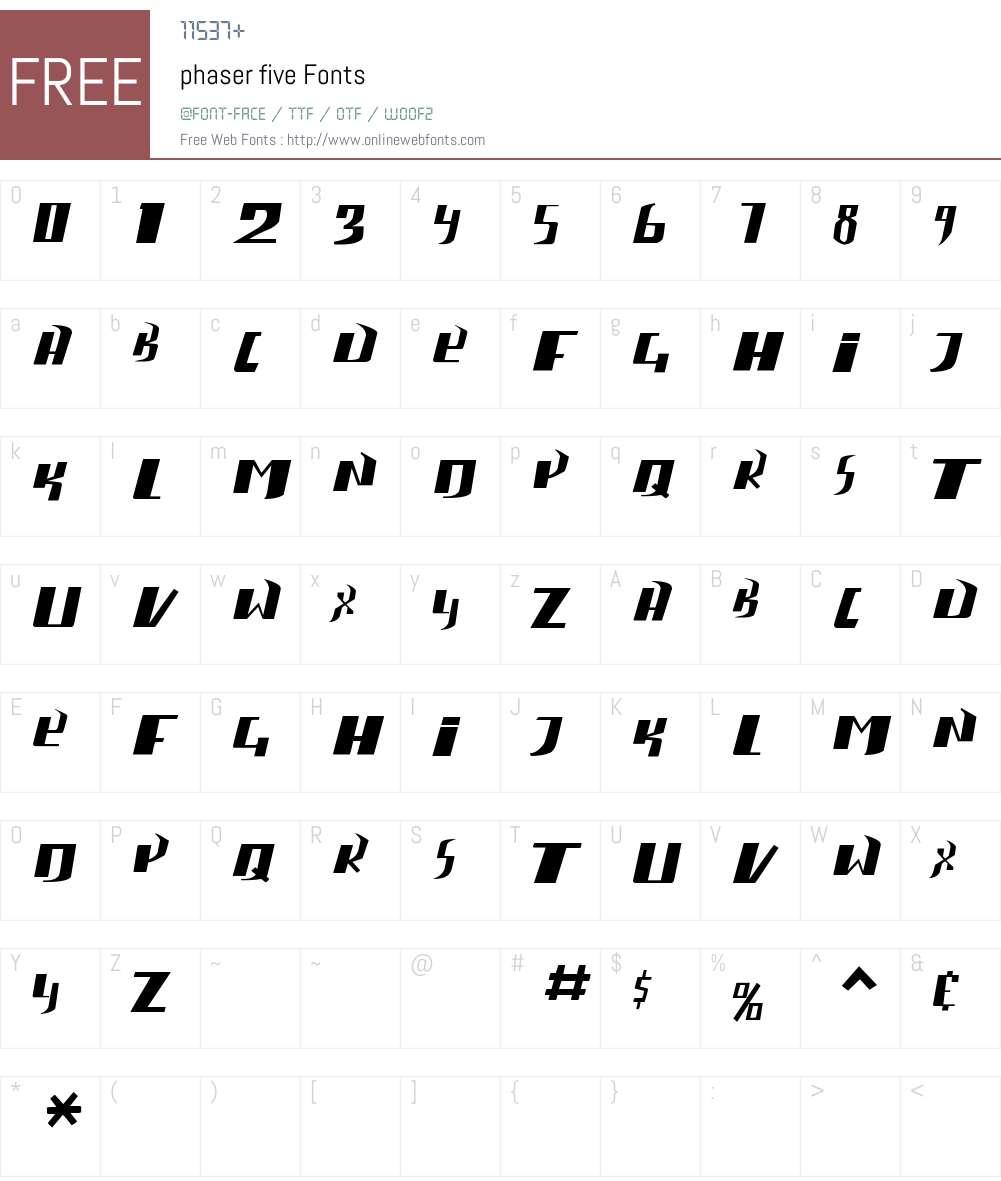 phaser five Font Screenshots