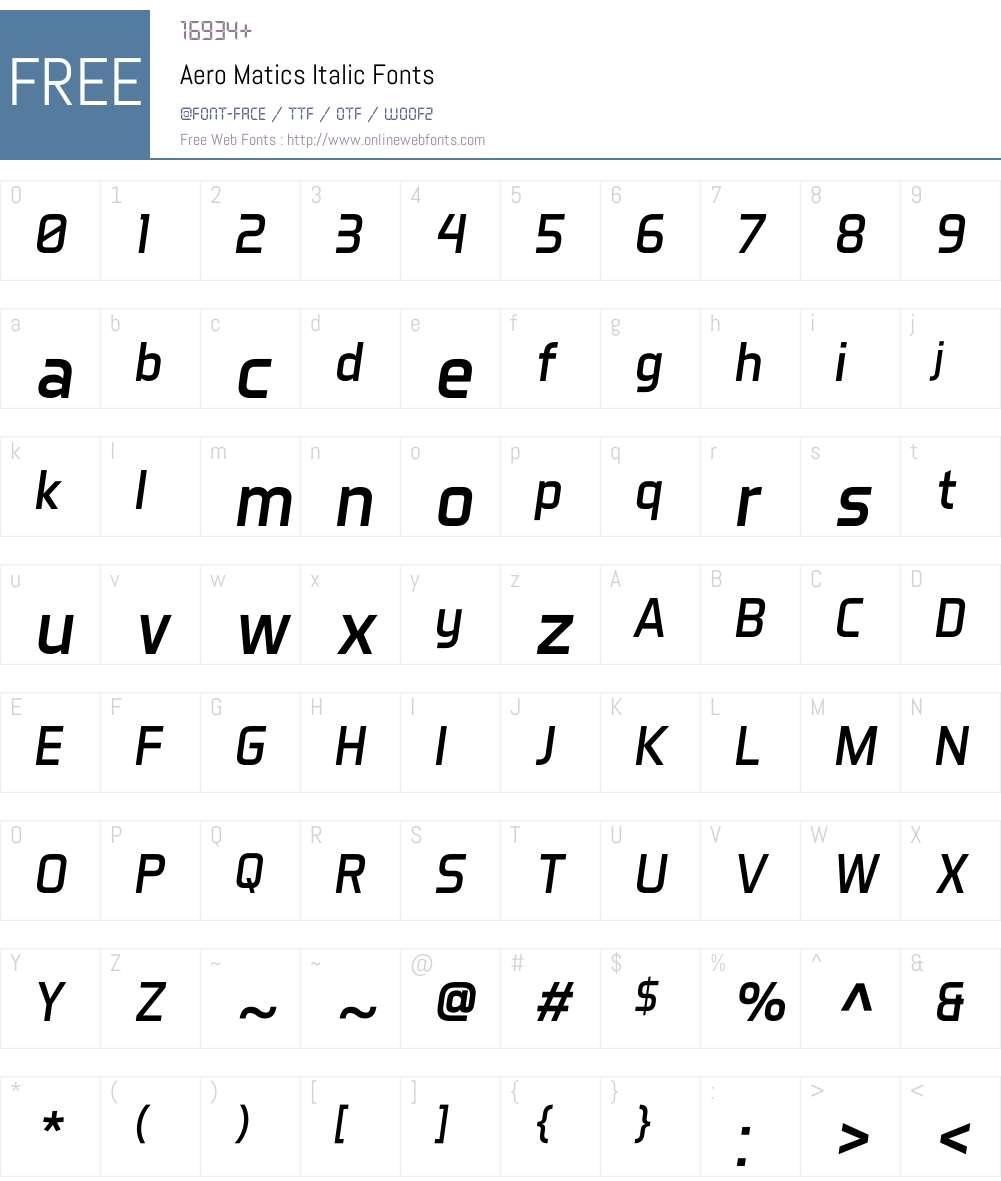 Aero Matics Font Screenshots