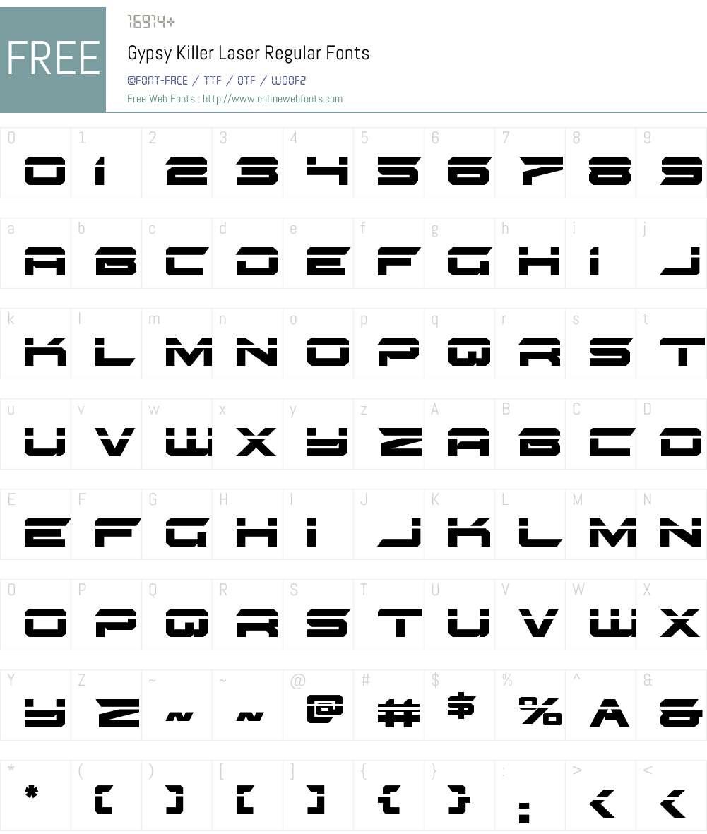 Gypsy Killer Laser Font Screenshots