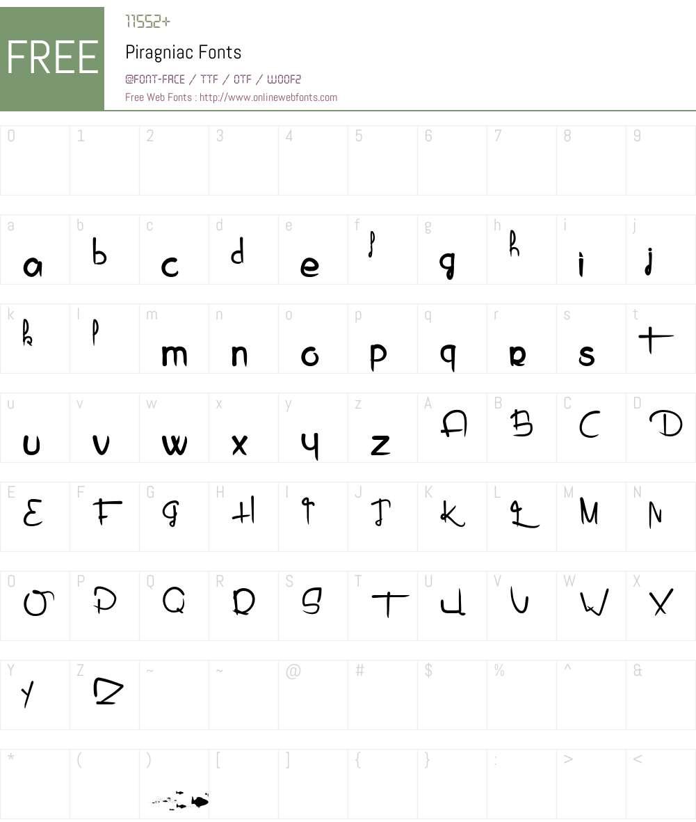 Piragniac Font Screenshots