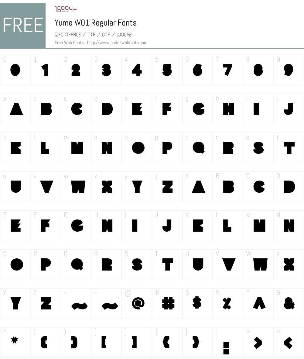 YumeW01-Regular Font Screenshots