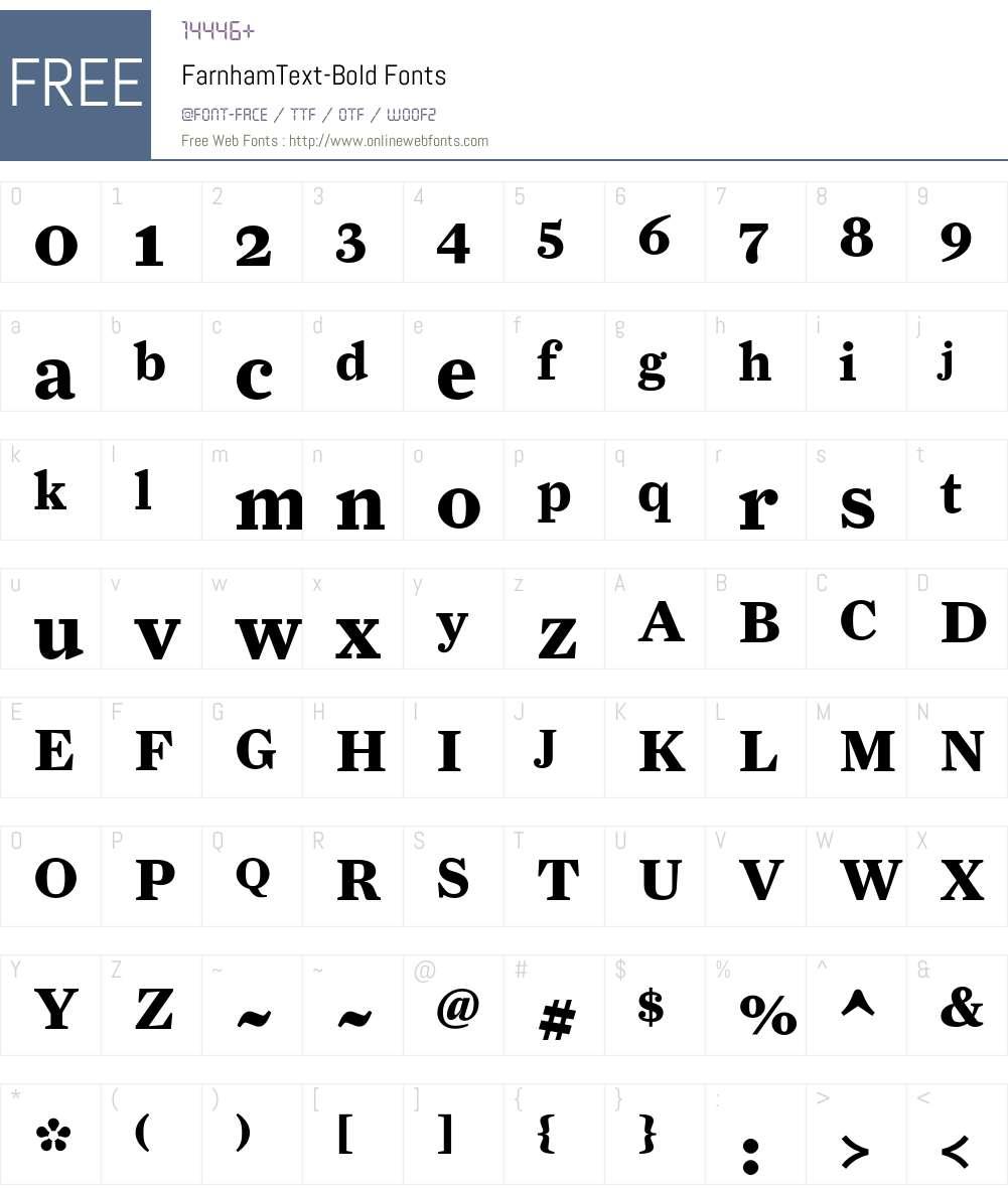 FarnhamText-Bold Font Screenshots