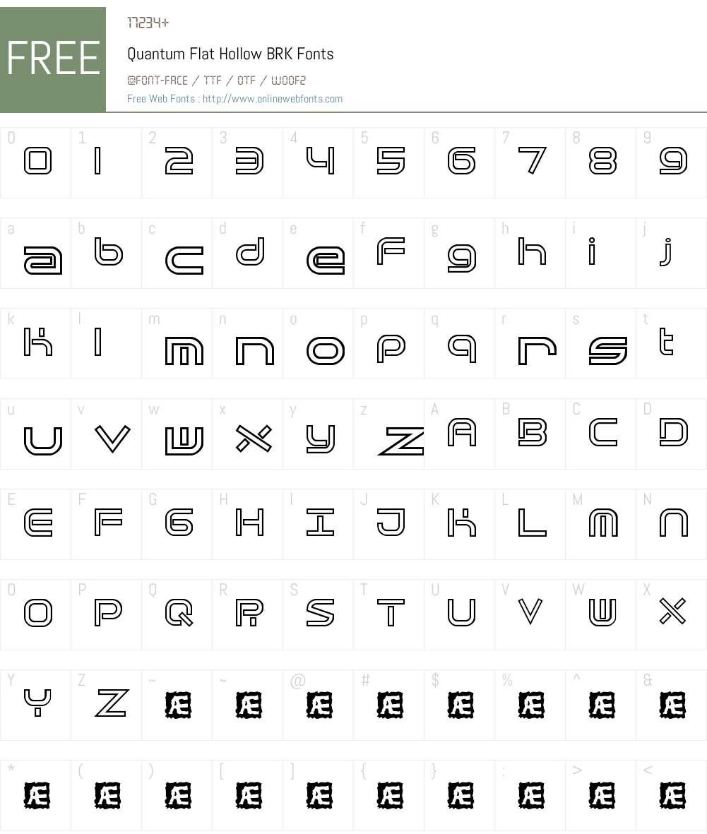 Quantum Flat Hollow BRK Font Screenshots