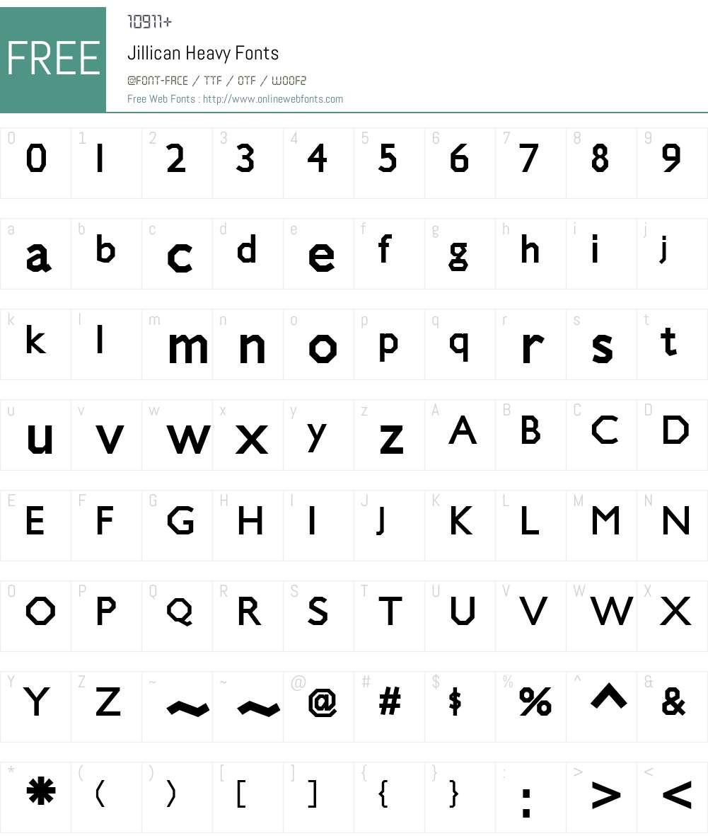 Jillican Heavy Font Screenshots