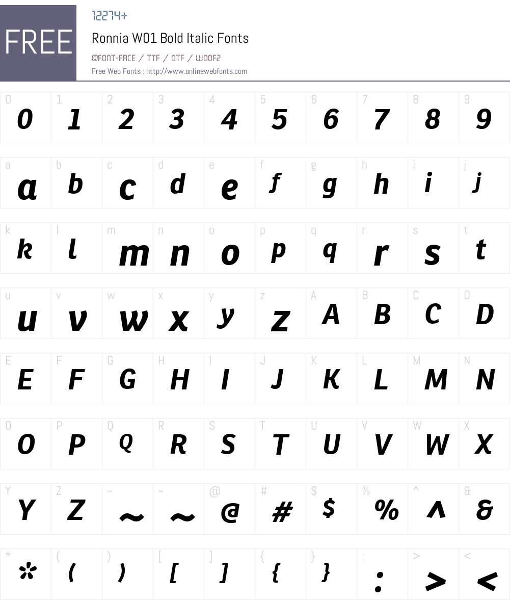 RonniaW01-BoldItalic Font Screenshots