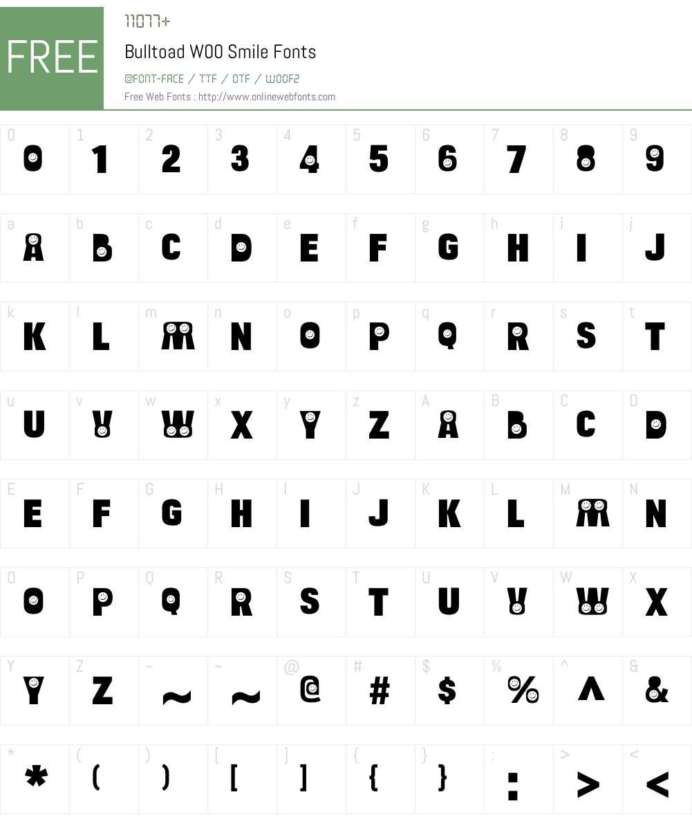 BulltoadW00-Smile Font Screenshots