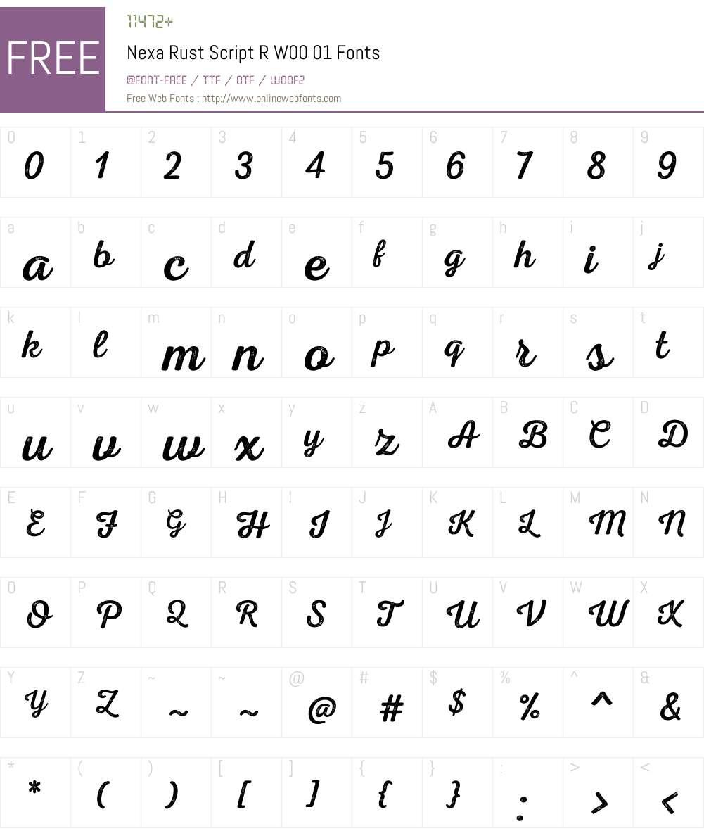 NexaRustScriptRW00-01 Font Screenshots