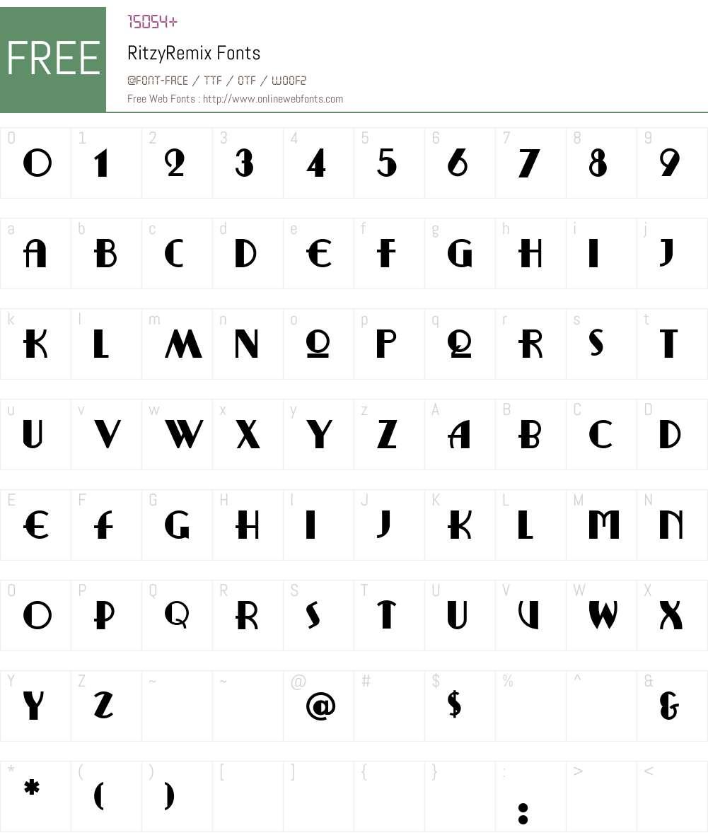 RitzyRemix Font Screenshots