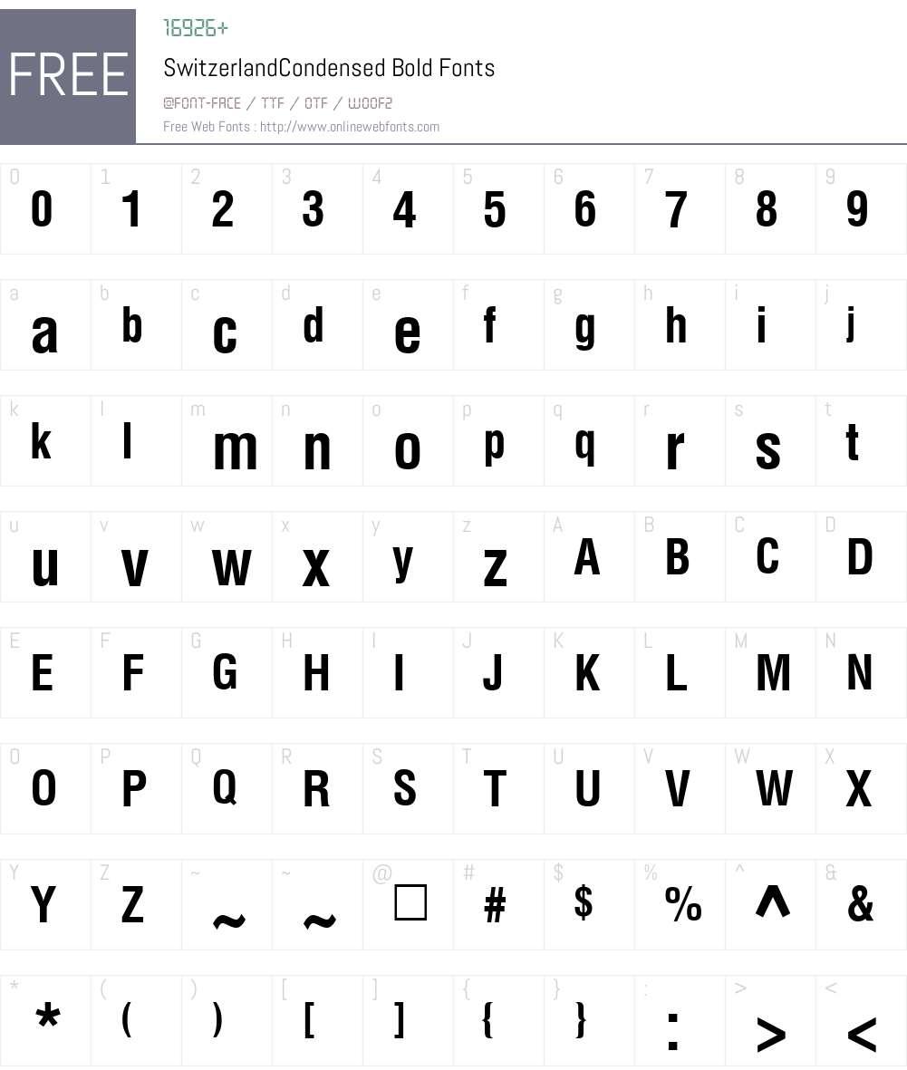 SwitzerlandCondensed Font Screenshots