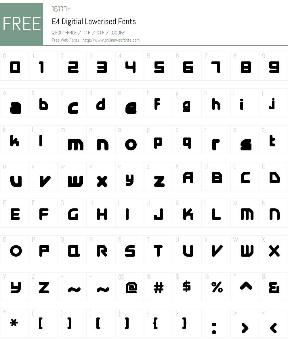 E4 Digitial Lowerised Font Screenshots