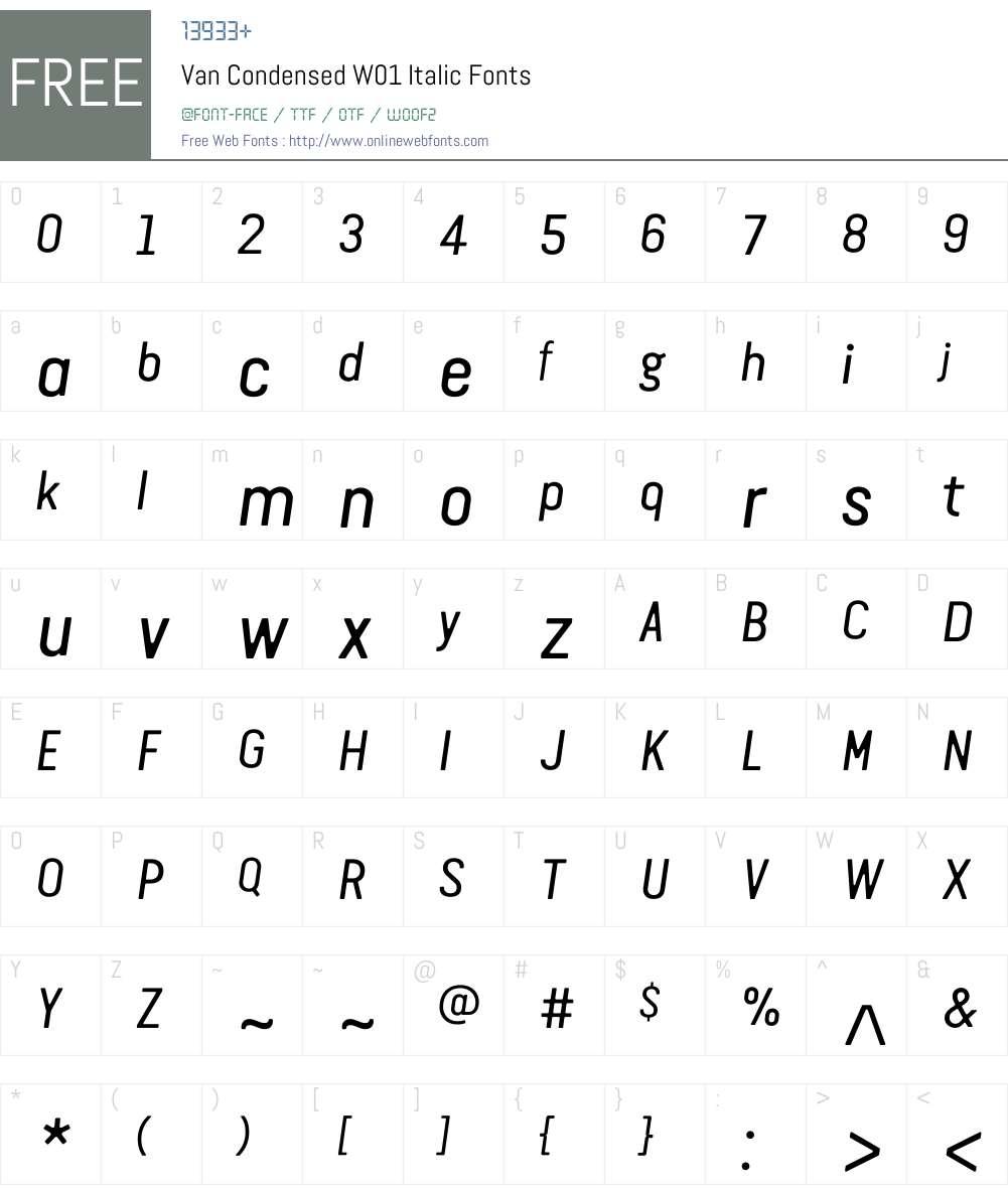 VanCondensedW01-Italic Font Screenshots