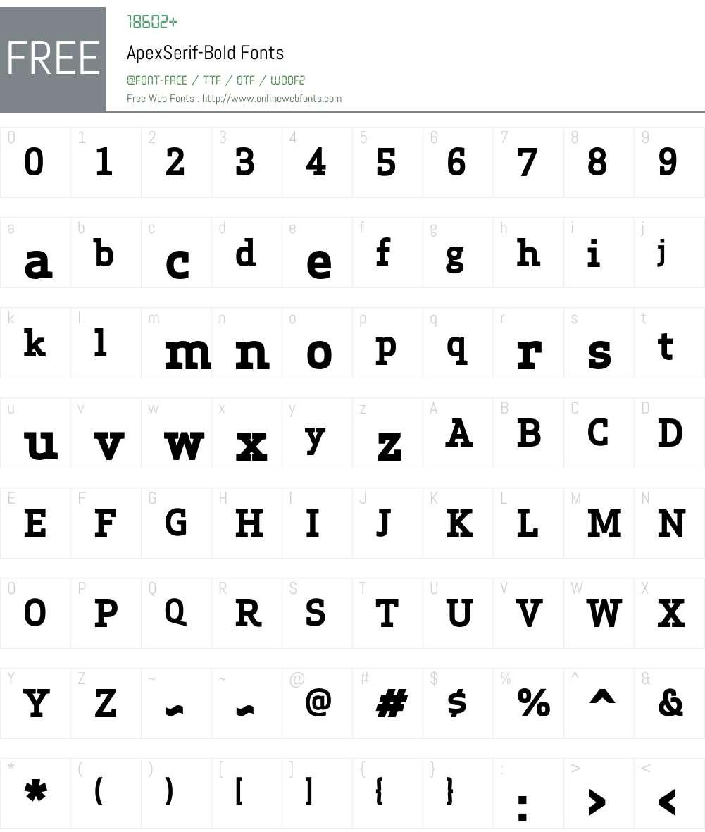 Apex Serif Bold Font Screenshots