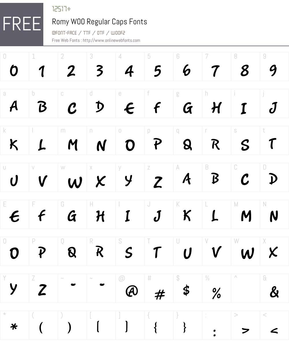 RomyW00-RegularCaps Font Screenshots