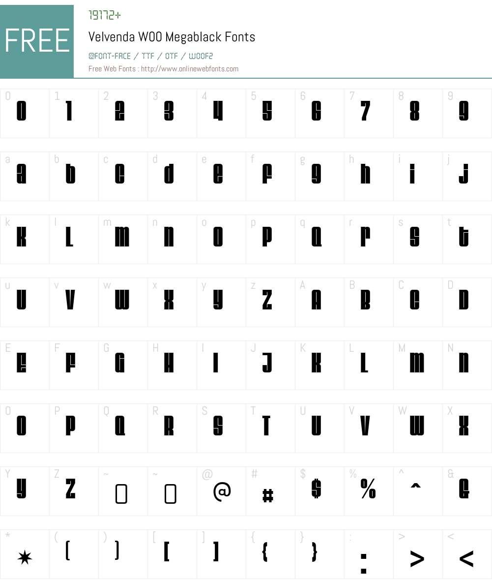 VelvendaW00-Megablack Font Screenshots