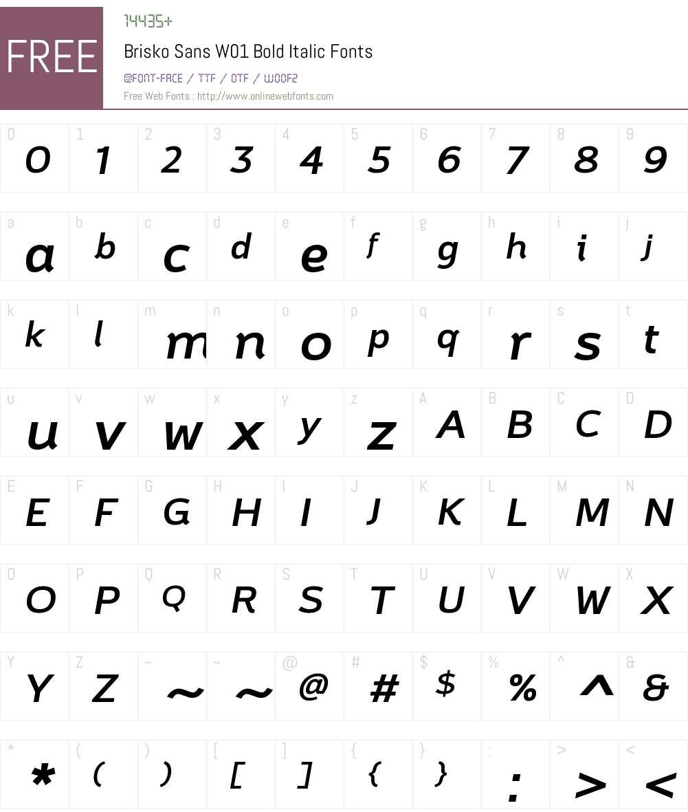 BriskoSansW01-BoldItalic Font Screenshots