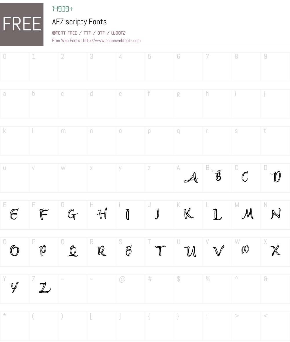 AEZ scripty Font Screenshots
