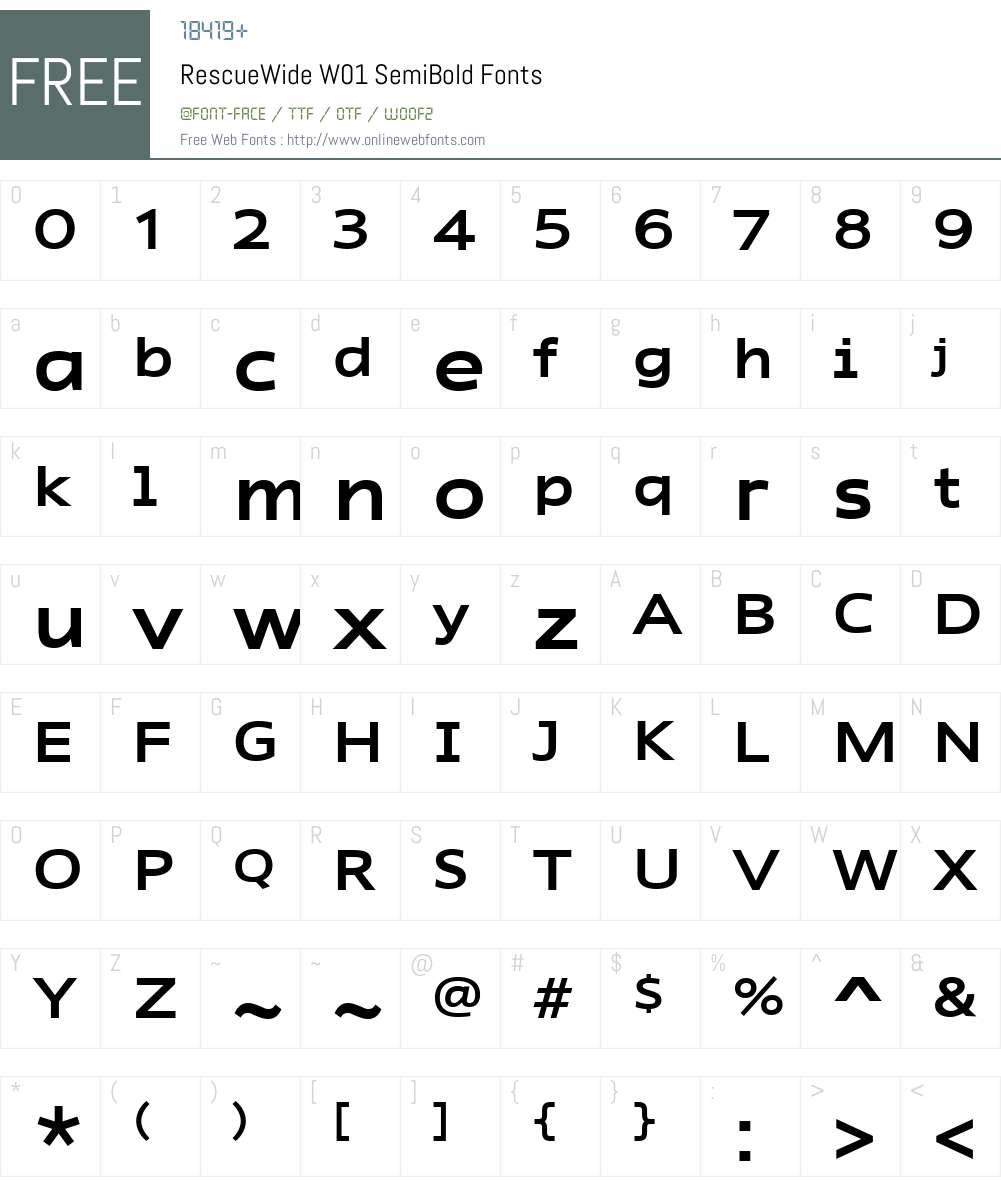 RescueWideW01-SemiBold Font Screenshots