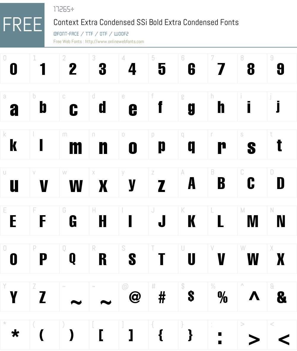Context Extra Condensed SSi Font Screenshots