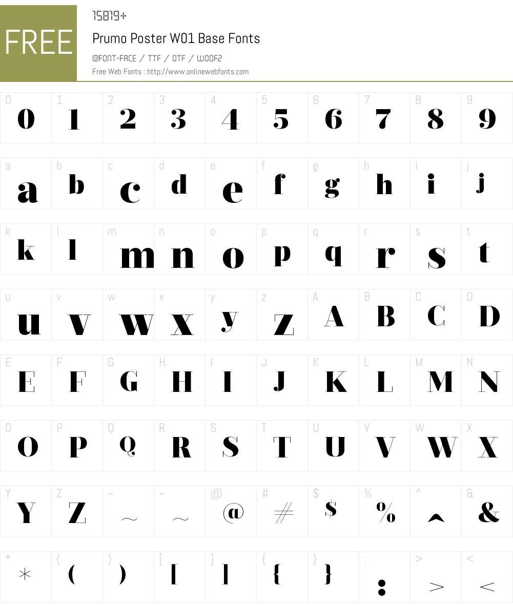 PrumoPosterW01-Base Font Screenshots